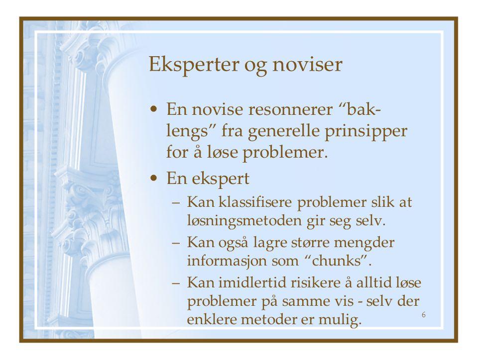 """Eksperter og noviser En novise resonnerer """"bak- lengs"""" fra generelle prinsipper for å løse problemer. En ekspert –Kan klassifisere problemer slik at l"""