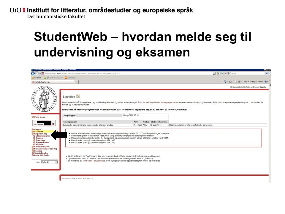 StudentWeb – hvordan melde seg til undervisning og eksamen
