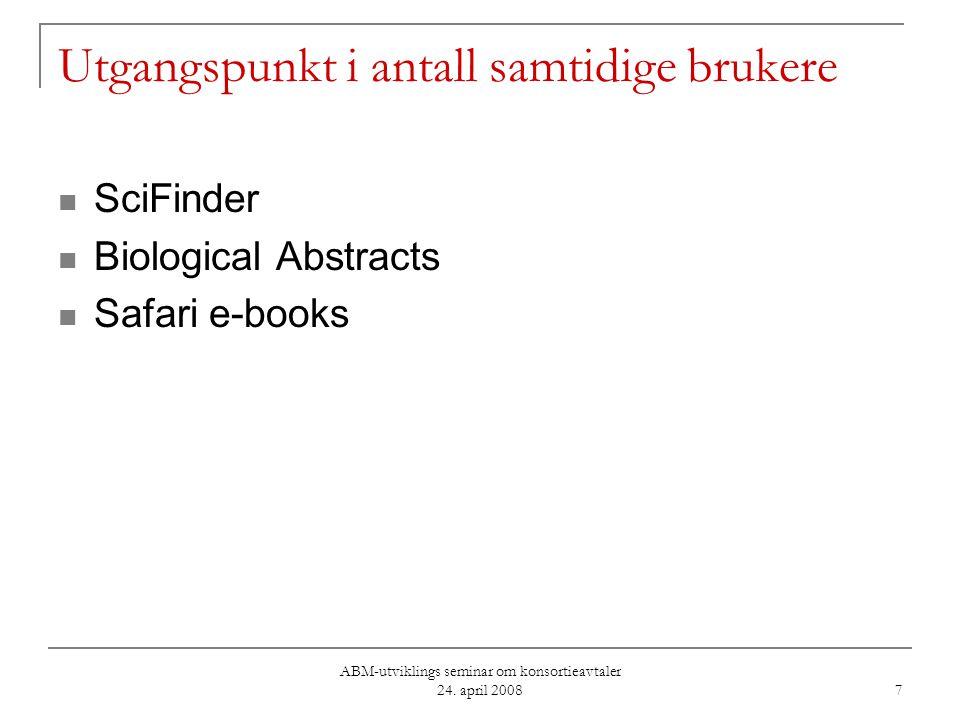 ABM-utviklings seminar om konsortieavtaler 24. april 2008 7 Utgangspunkt i antall samtidige brukere SciFinder Biological Abstracts Safari e-books