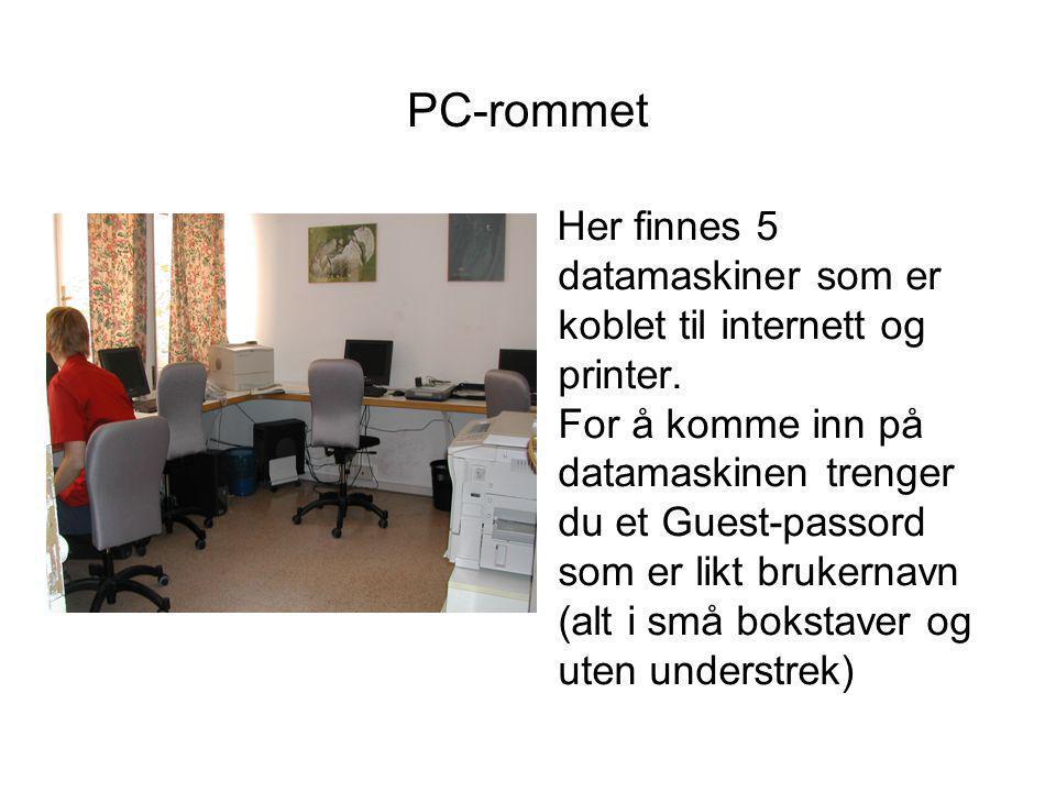 PC-rommet Her finnes 5 datamaskiner som er koblet til internett og printer.