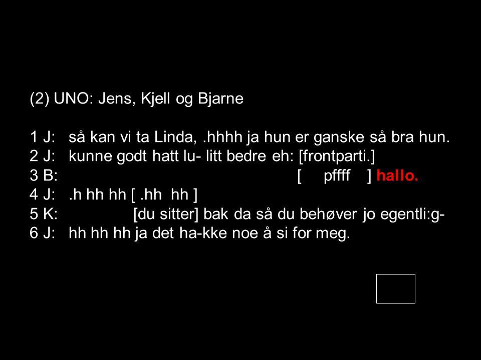(2) UNO: Jens, Kjell og Bjarne 1 J: så kan vi ta Linda,.hhhh ja hun er ganske så bra hun.