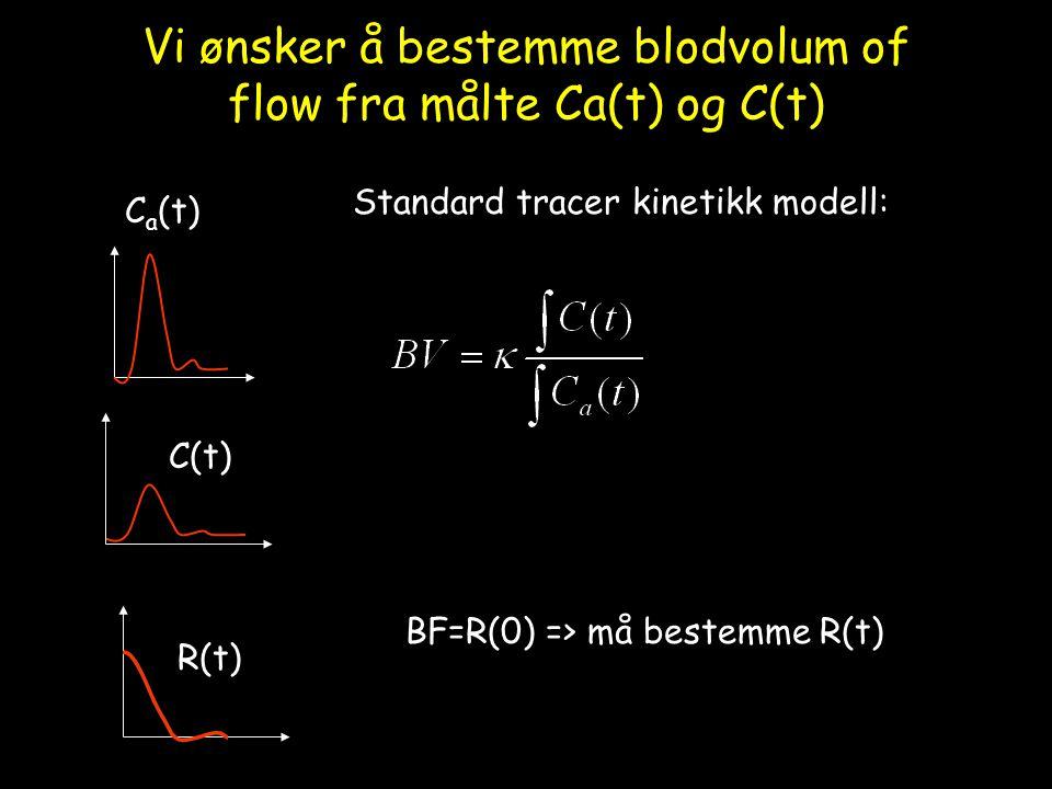 Vi ønsker å bestemme blodvolum of flow fra målte Ca(t) og C(t) C a (t) C(t) R(t) Standard tracer kinetikk modell: BF=R(0) => må bestemme R(t)