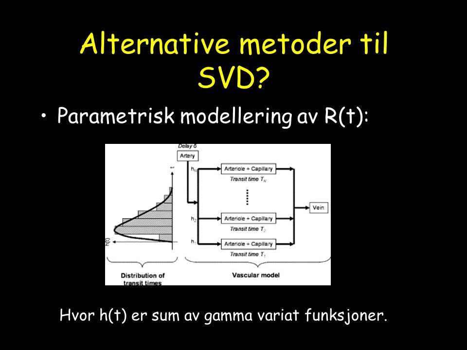 Alternative metoder til SVD? Parametrisk modellering av R(t): Hvor h(t) er sum av gamma variat funksjoner.