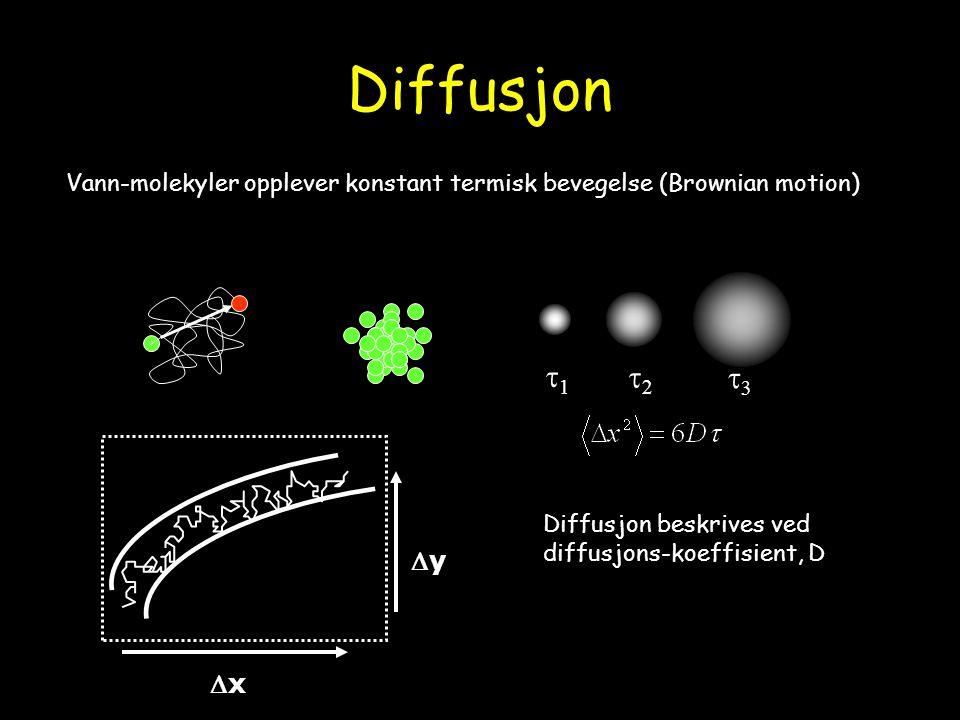 Diffusjon 11 22 33 Vann-molekyler opplever konstant termisk bevegelse (Brownian motion) Diffusjon beskrives ved diffusjons-koeffisient, D yy 