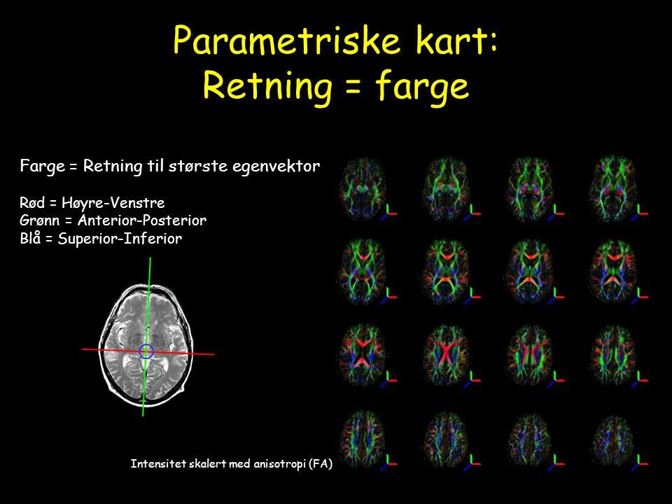Parametriske kart: Retning = farge Farge = Retning til største egenvektor Rød = Høyre-Venstre Grønn = Anterior-Posterior Blå = Superior-Inferior Inten