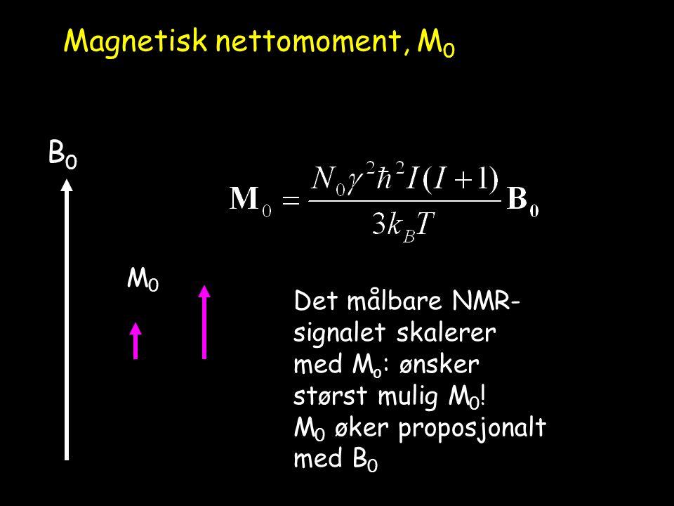 B0B0 Magnetisk nettomoment, M 0 M0M0 Det målbare NMR- signalet skalerer med M o : ønsker størst mulig M 0 ! M 0 øker proposjonalt med B 0