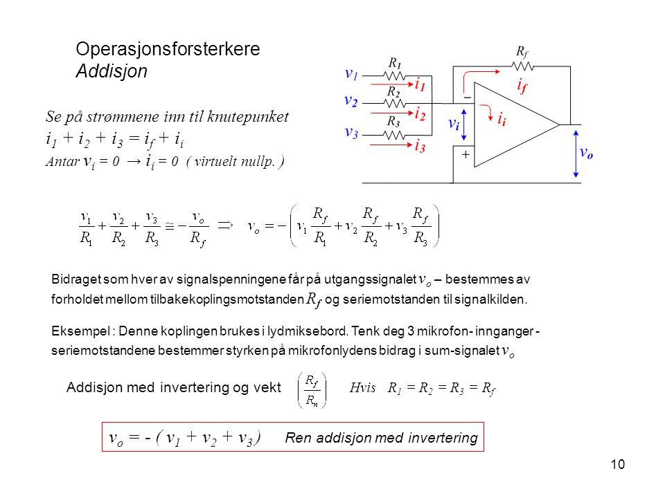 10 Operasjonsforsterkere Addisjon Se på strømmene inn til knutepunket i 1 + i 2 + i 3 = i f + i i Antar v i = 0 → i i = 0 ( virtuelt nullp. ) Addisjon