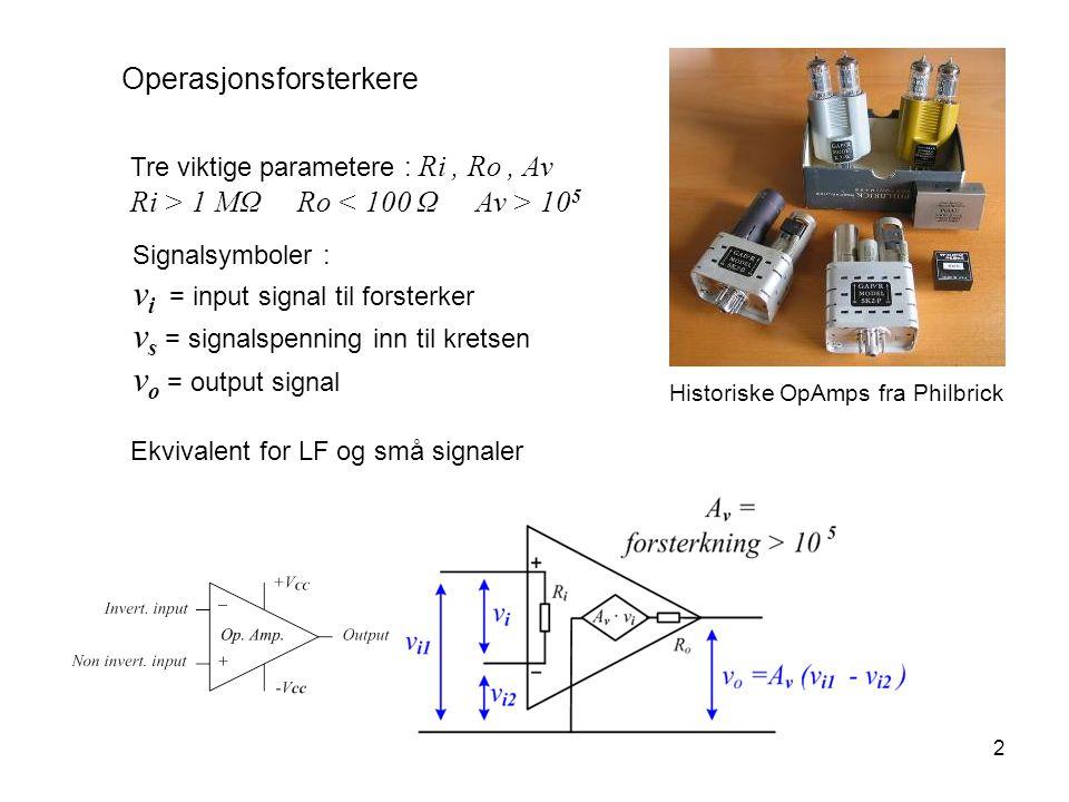 2 Operasjonsforsterkere Tre viktige parametere : Ri, Ro, Av Ri > 1 MΩ Ro 10 5 Historiske OpAmps fra Philbrick Signalsymboler : v i = input signal til