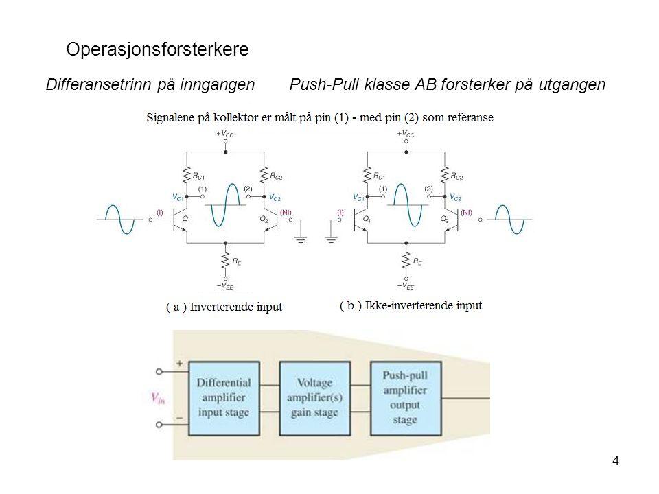 4 Operasjonsforsterkere Differansetrinn på inngangen Push-Pull klasse AB forsterker på utgangen