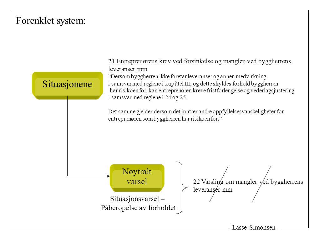 Lasse Simonsen Forenklet system: Nøytralt varsel Situasjonene Situasjonsvarsel – Påberopelse av forholdet 21 Entreprenørens krav ved forsinkelse og ma