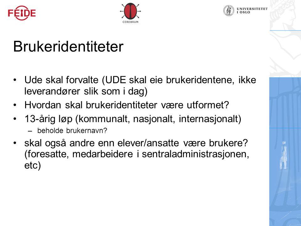 Brukeridentiteter Ude skal forvalte (UDE skal eie brukeridentene, ikke leverandører slik som i dag) Hvordan skal brukeridentiteter være utformet? 13-å