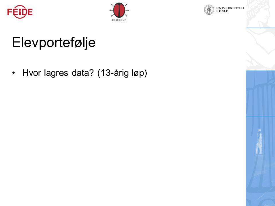 Elevportefølje Hvor lagres data? (13-årig løp)