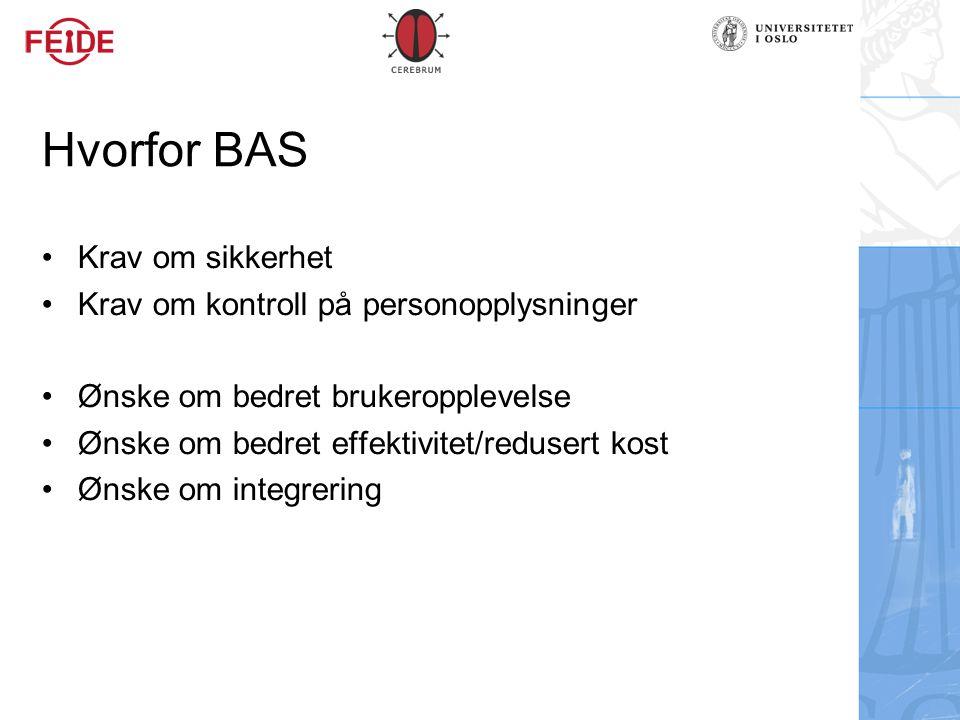 Hvorfor BAS Krav om sikkerhet Krav om kontroll på personopplysninger Ønske om bedret brukeropplevelse Ønske om bedret effektivitet/redusert kost Ønske