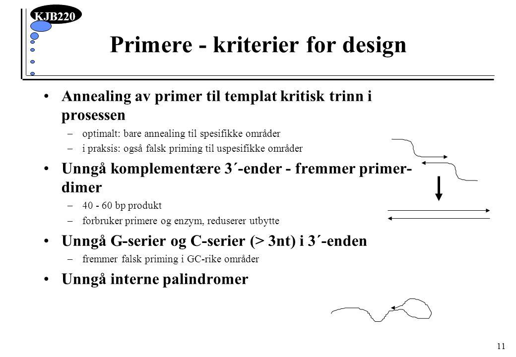 KJB220 11 Primere - kriterier for design Annealing av primer til templat kritisk trinn i prosessen –optimalt: bare annealing til spesifikke områder –i