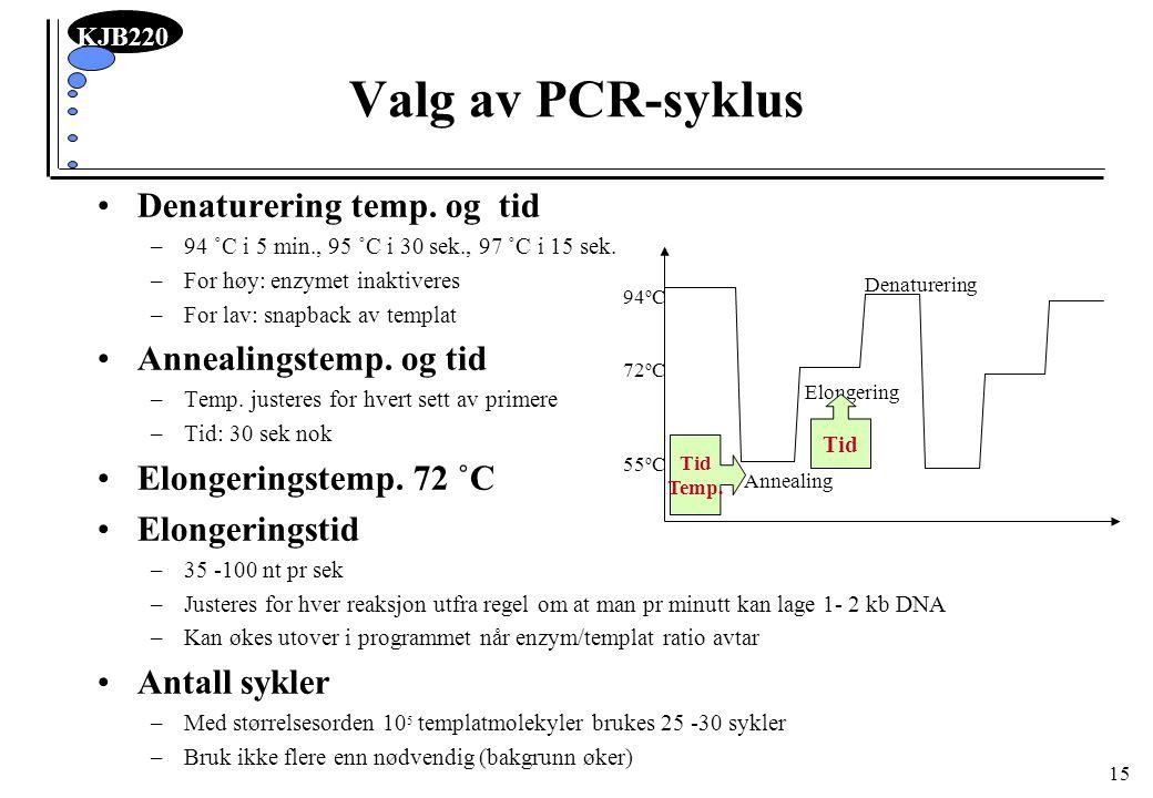 KJB220 15 Valg av PCR-syklus Denaturering temp. og tid –94 ˚C i 5 min., 95 ˚C i 30 sek., 97 ˚C i 15 sek. –For høy: enzymet inaktiveres –For lav: snapb