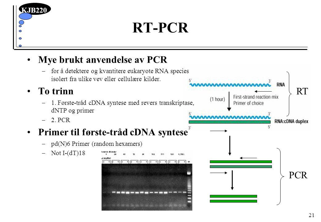 KJB220 21 RT-PCR Mye brukt anvendelse av PCR –for å detektere og kvantitere eukaryote RNA species isolert fra ulike vev eller cellulære kilder. To tri