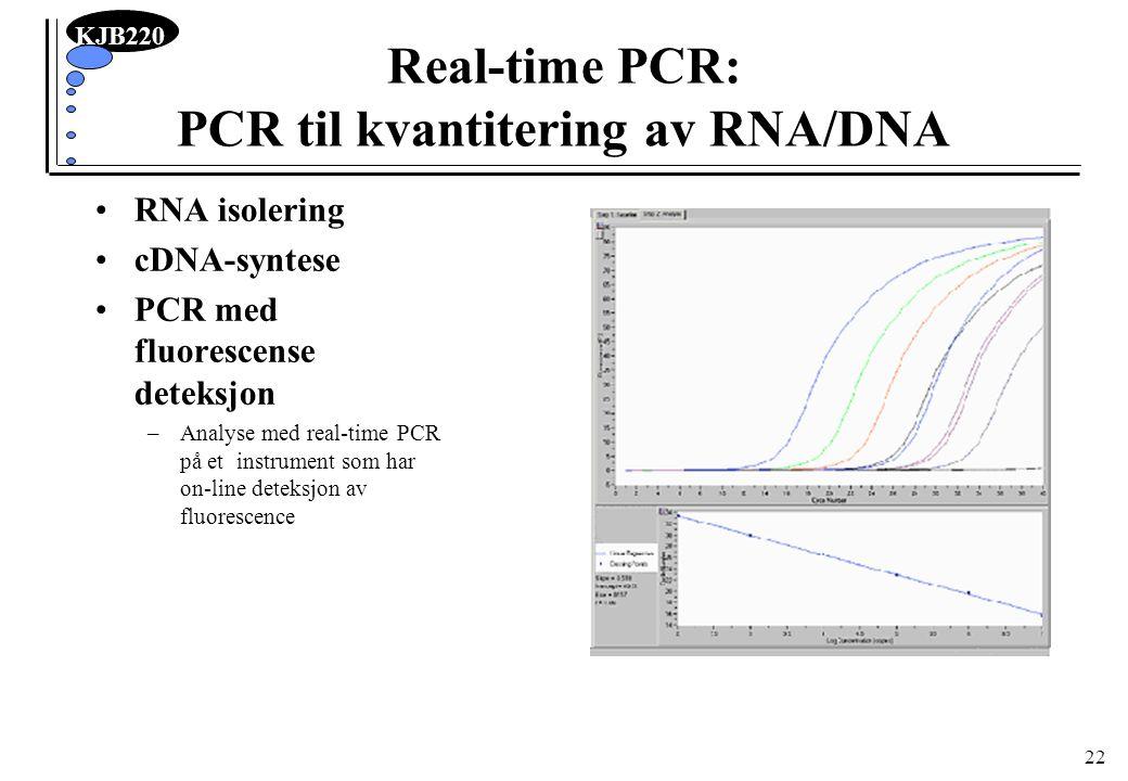 KJB220 22 Real-time PCR: PCR til kvantitering av RNA/DNA RNA isolering cDNA-syntese PCR med fluorescense deteksjon –Analyse med real-time PCR på et in