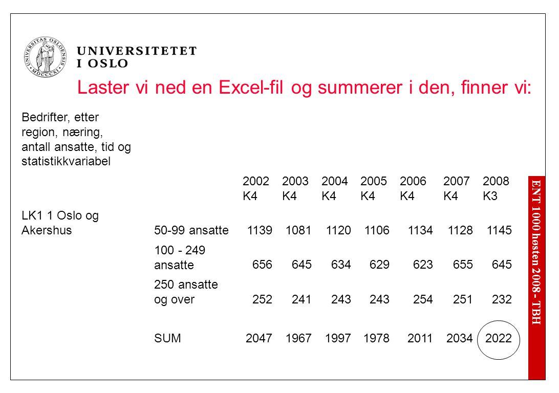 ENT 1000 høsten 2008 - TBH Laster vi ned en Excel-fil og summerer i den, finner vi: Bedrifter, etter region, næring, antall ansatte, tid og statistikk