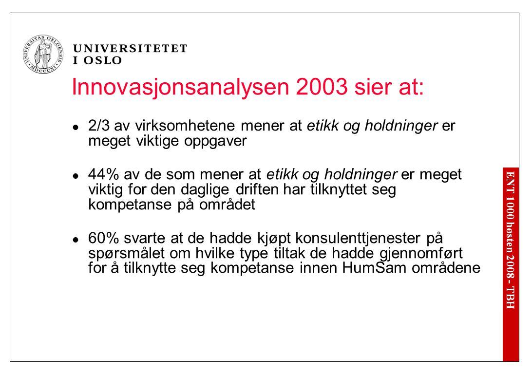 ENT 1000 høsten 2008 - TBH Innovasjonsanalysen 2003 sier at: 2/3 av virksomhetene mener at etikk og holdninger er meget viktige oppgaver 44% av de som