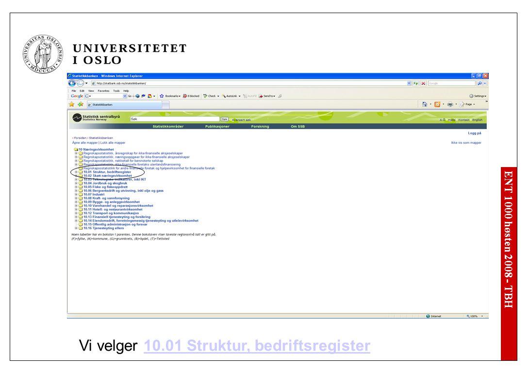ENT 1000 høsten 2008 - TBH Vi velger 10.01 Struktur, bedriftsregister10.01 Struktur, bedriftsregister