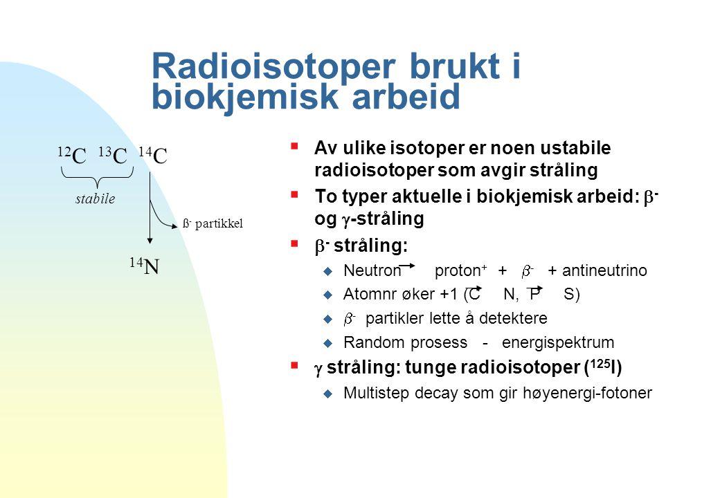 Radioisotoper brukt i biokjemisk arbeid  Av ulike isotoper er noen ustabile radioisotoper som avgir stråling  To typer aktuelle i biokjemisk arbeid: