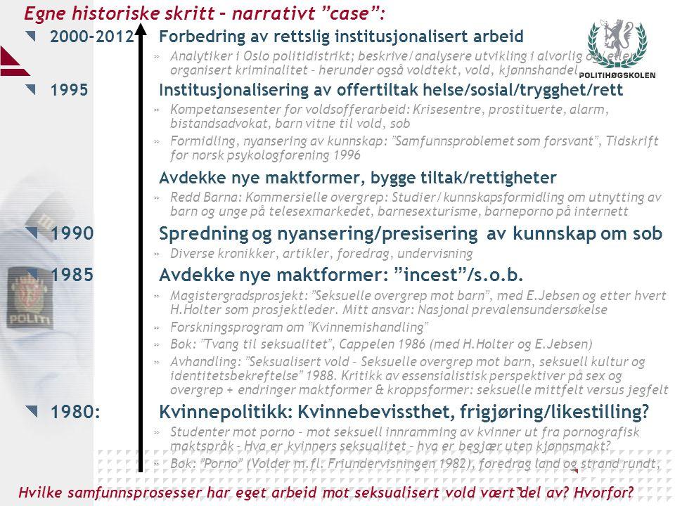 """Egne historiske skritt – narrativt """" case """" : 2000-2012Forbedring av rettslig institusjonalisert arbeid »Analytiker i Oslo politidistrikt; beskrive/an"""