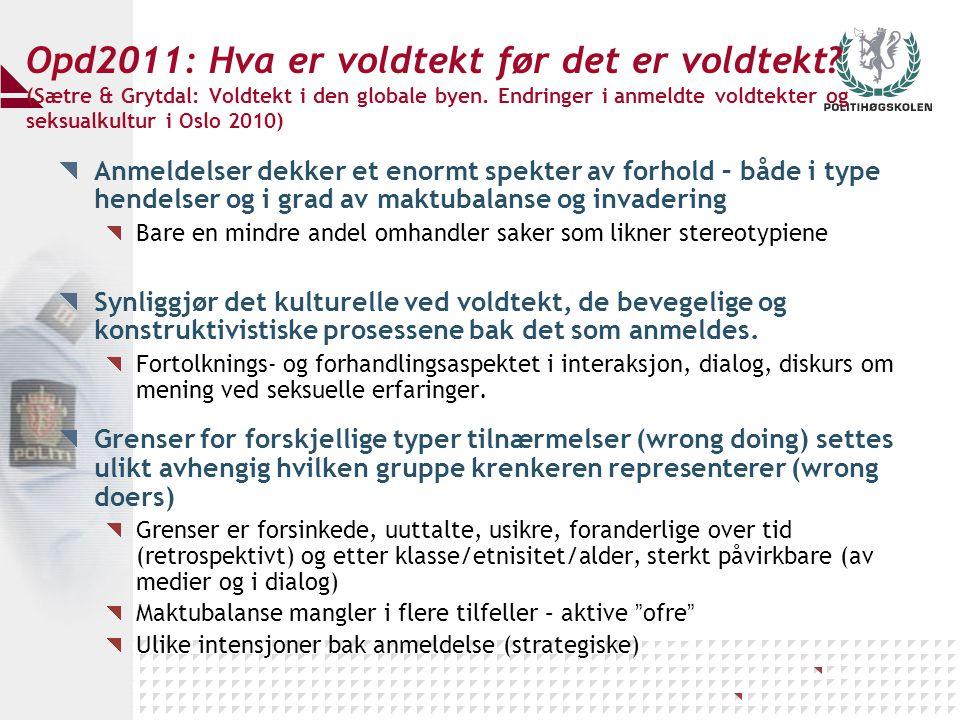 Opd2011: Hva er voldtekt før det er voldtekt? (Sætre & Grytdal: Voldtekt i den globale byen. Endringer i anmeldte voldtekter og seksualkultur i Oslo 2
