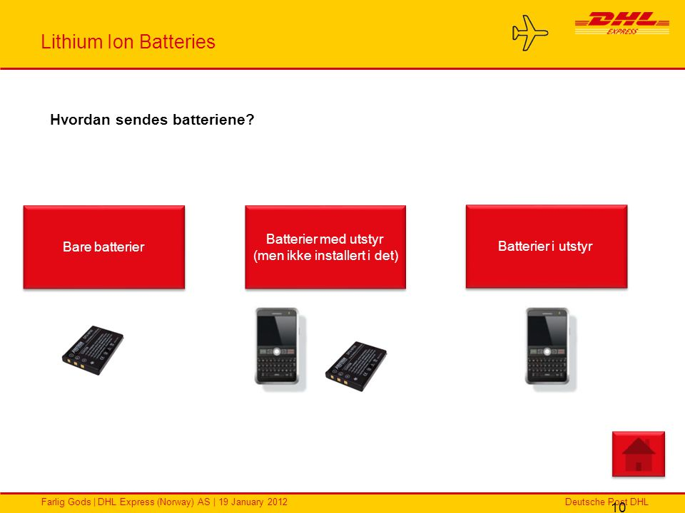 Deutsche Post DHLFarlig Gods | DHL Express (Norway) AS | 19 January 2012 Lithium Ion Batteries 10 Hvordan sendes batteriene? Bare batterier Batterier