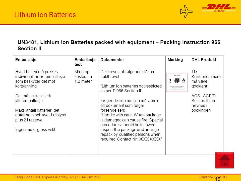 Deutsche Post DHLFarlig Gods | DHL Express (Norway) AS | 19 January 2012 Lithium Ion Batteries 15 EmballasjeEmballasje test DokumenterMerkingDHL Produ