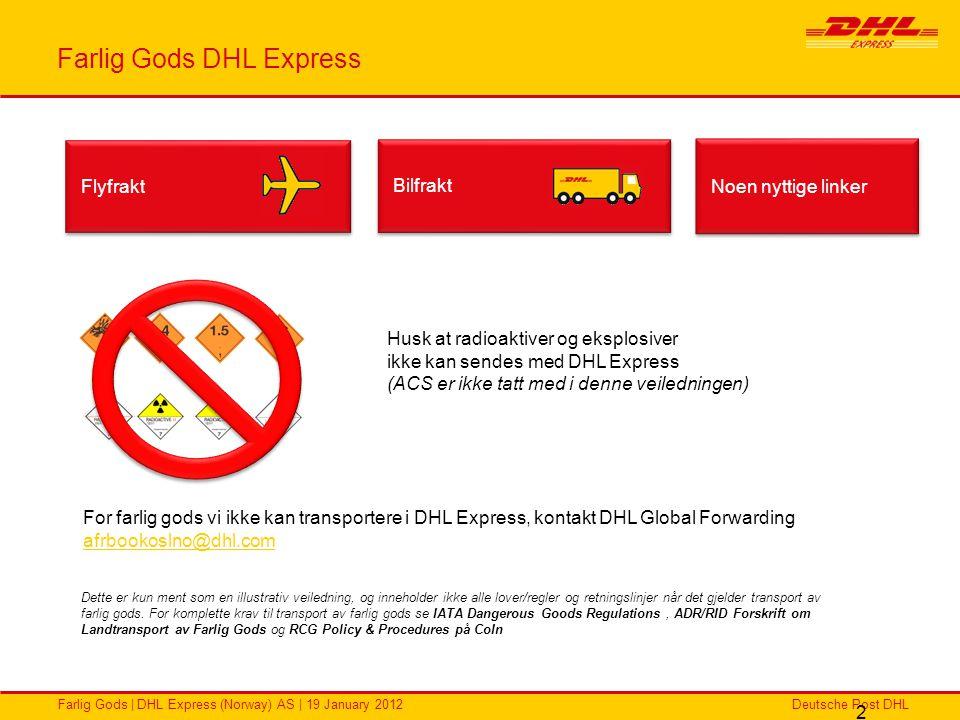 Deutsche Post DHLFarlig Gods | DHL Express (Norway) AS | 19 January 2012 2 Farlig Gods DHL Express Flyfrakt Bilfrakt Dette er kun ment som en illustra