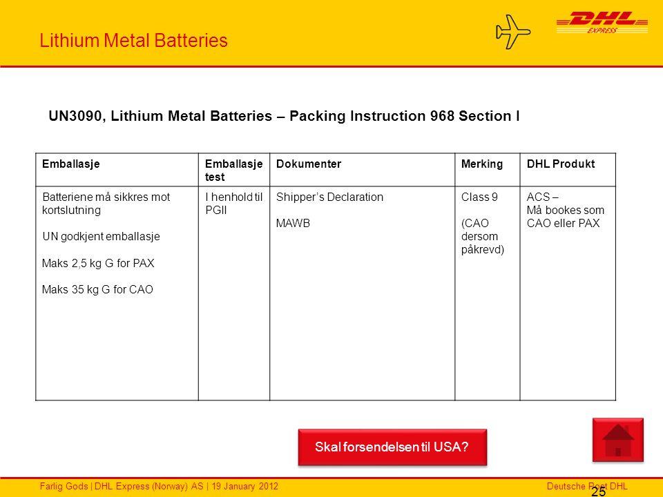 Deutsche Post DHLFarlig Gods | DHL Express (Norway) AS | 19 January 2012 Lithium Metal Batteries 25 EmballasjeEmballasje test DokumenterMerkingDHL Pro