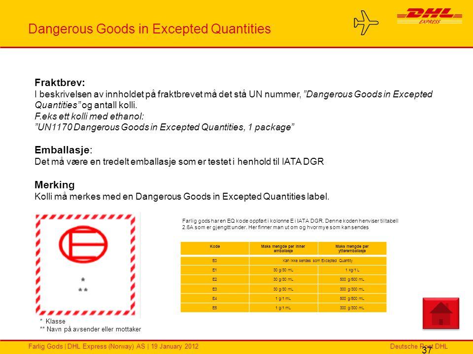 Deutsche Post DHLFarlig Gods | DHL Express (Norway) AS | 19 January 2012 Dangerous Goods in Excepted Quantities 37 Fraktbrev: I beskrivelsen av innhol