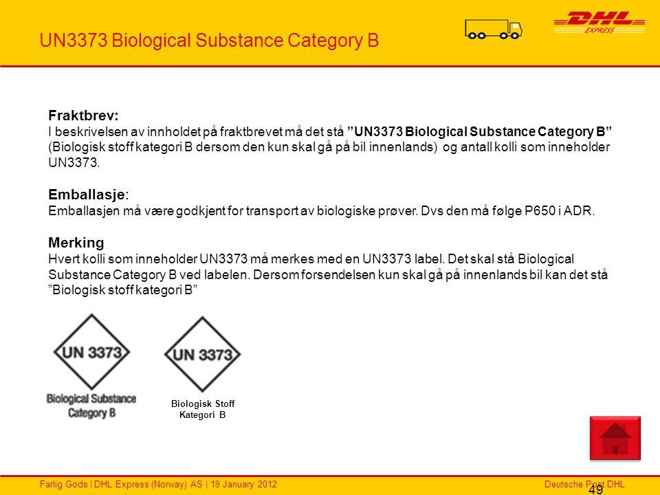 Deutsche Post DHLFarlig Gods | DHL Express (Norway) AS | 19 January 2012 UN3373 Biological Substance Category B 49 Fraktbrev: I beskrivelsen av innhol