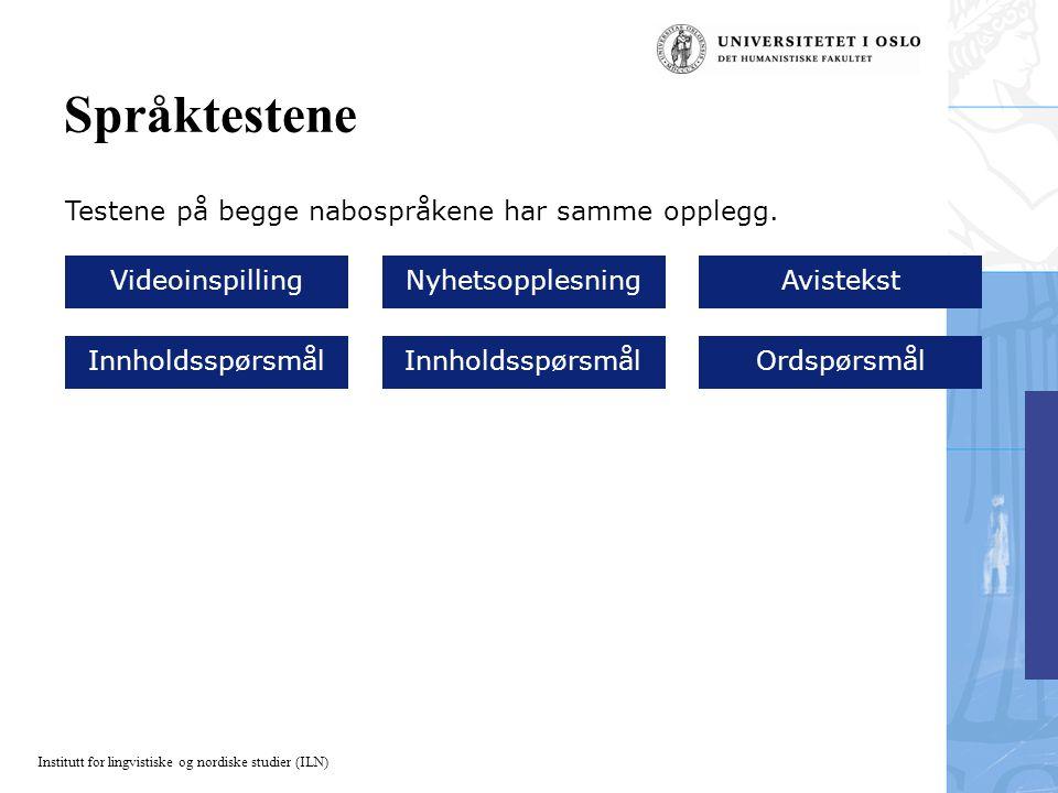 Institutt for lingvistiske og nordiske studier (ILN) Språktestene Testene på begge nabospråkene har samme opplegg. VideoinspillingNyhetsopplesningAvis