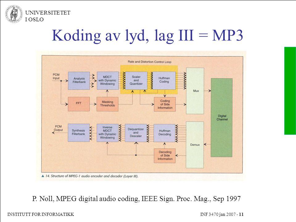 INSTITUTT FOR INFORMATIKK INF 3470 jan 2007 - 11 UNIVERSITETET I OSLO Koding av lyd, lag III = MP3 P. Noll, MPEG digital audio coding, IEEE Sign. Proc