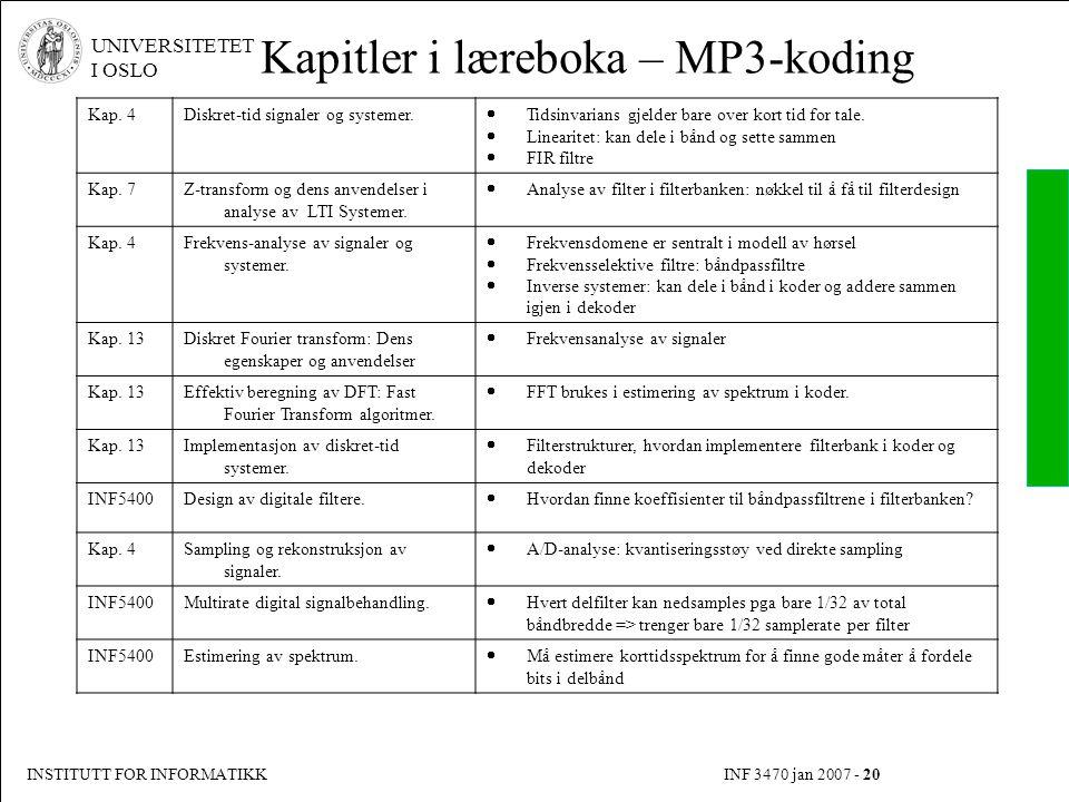 INSTITUTT FOR INFORMATIKK INF 3470 jan 2007 - 20 UNIVERSITETET I OSLO Kapitler i læreboka – MP3-koding Kap. 4Diskret-tid signaler og systemer.  Tidsi