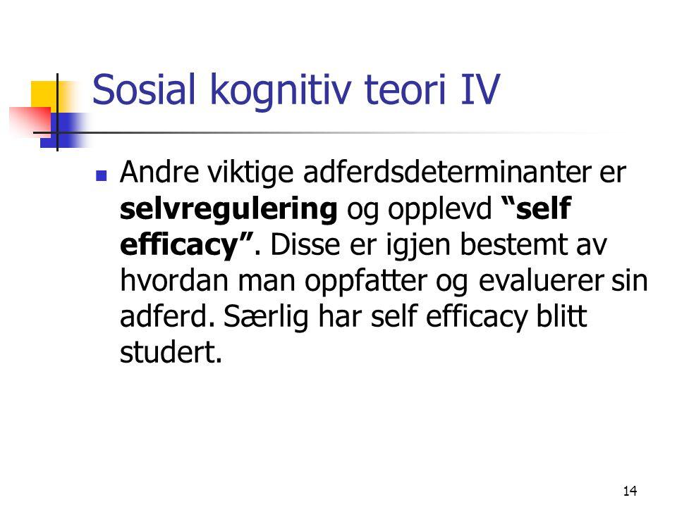 """14 Sosial kognitiv teori IV Andre viktige adferdsdeterminanter er selvregulering og opplevd """"self efficacy"""". Disse er igjen bestemt av hvordan man opp"""
