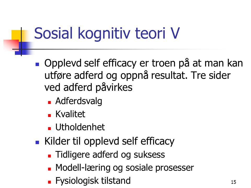 15 Sosial kognitiv teori V Opplevd self efficacy er troen på at man kan utføre adferd og oppnå resultat. Tre sider ved adferd påvirkes Adferdsvalg Kva