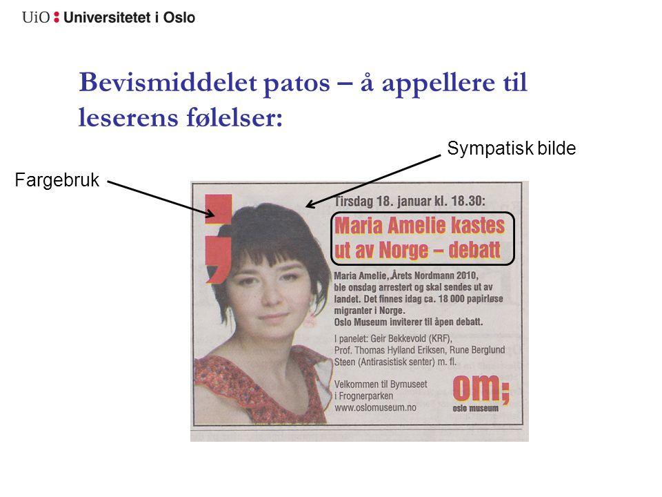 Bevismiddelet patos – å appellere til leserens følelser: Fargebruk Sympatisk bilde
