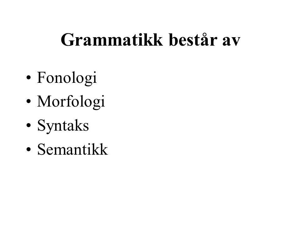 Grammatikk består av Fonologi Morfologi Syntaks Semantikk