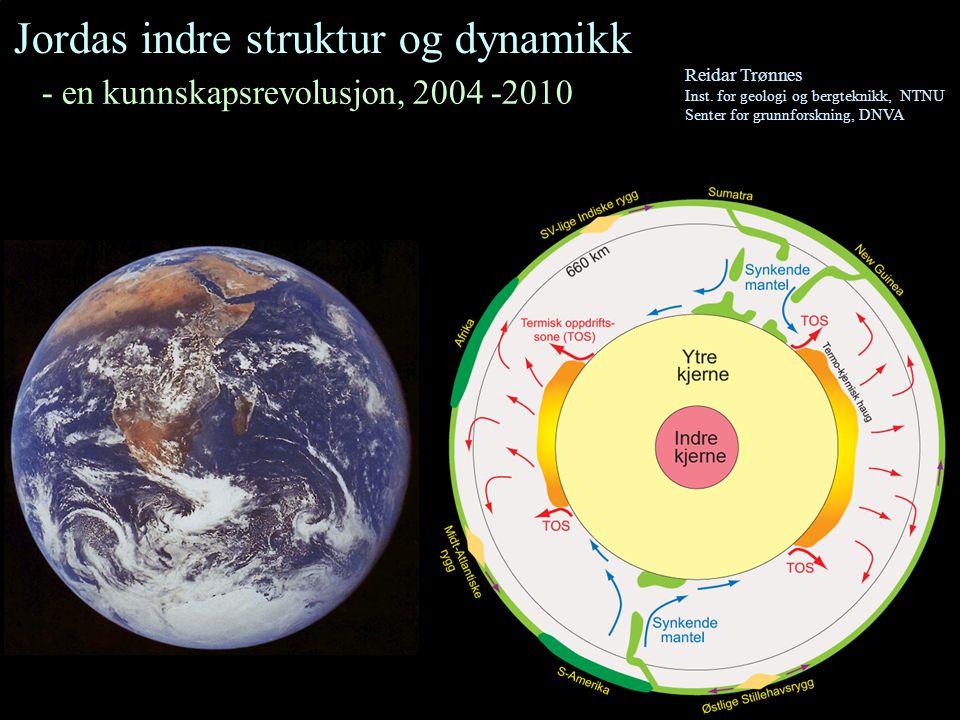 Jordas indre struktur Lithosfæren - 100 km tykt skall - inneholder jordskorpe (7-40 km tykk) og den øvre, stive delen av mantelen Asthenosfæren - diffus sone under lithosfæren - lav viskositet Ytre kjerne Flytende FeNi Indre kjerne Fast FeNi Mantel Fast stein Viskositet (seighet), log 10 (Pa s) Dyp, km Mantel-kjerne-overgangen