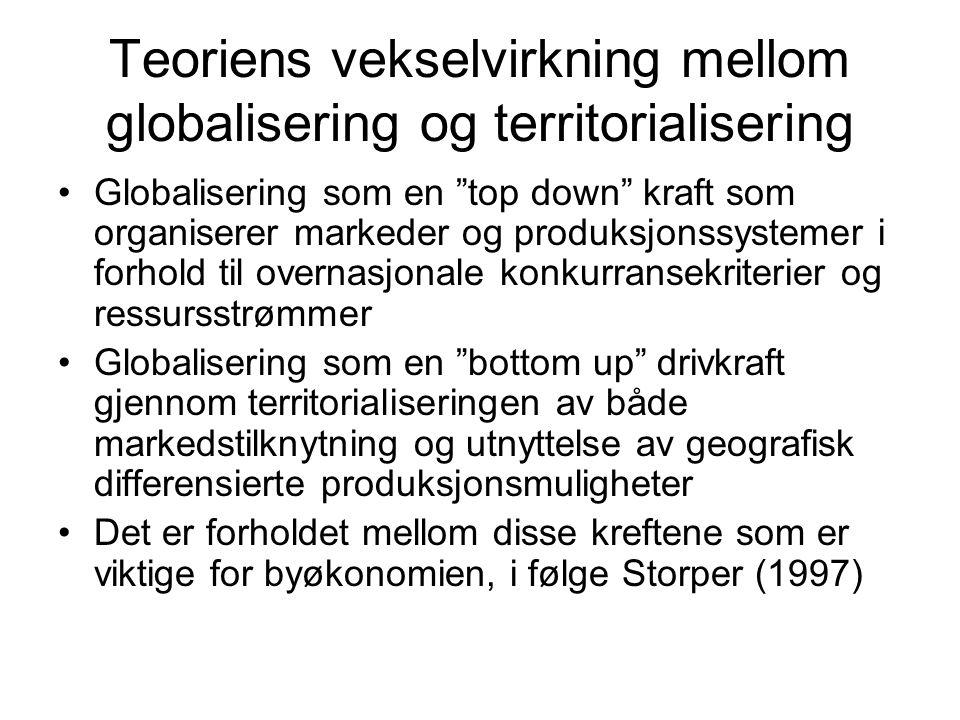 Teoriens vekselvirkning mellom globalisering og territorialisering Globalisering som en top down kraft som organiserer markeder og produksjonssystemer i forhold til overnasjonale konkurransekriterier og ressursstrømmer Globalisering som en bottom up drivkraft gjennom territorialiseringen av både markedstilknytning og utnyttelse av geografisk differensierte produksjonsmuligheter Det er forholdet mellom disse kreftene som er viktige for byøkonomien, i følge Storper (1997)