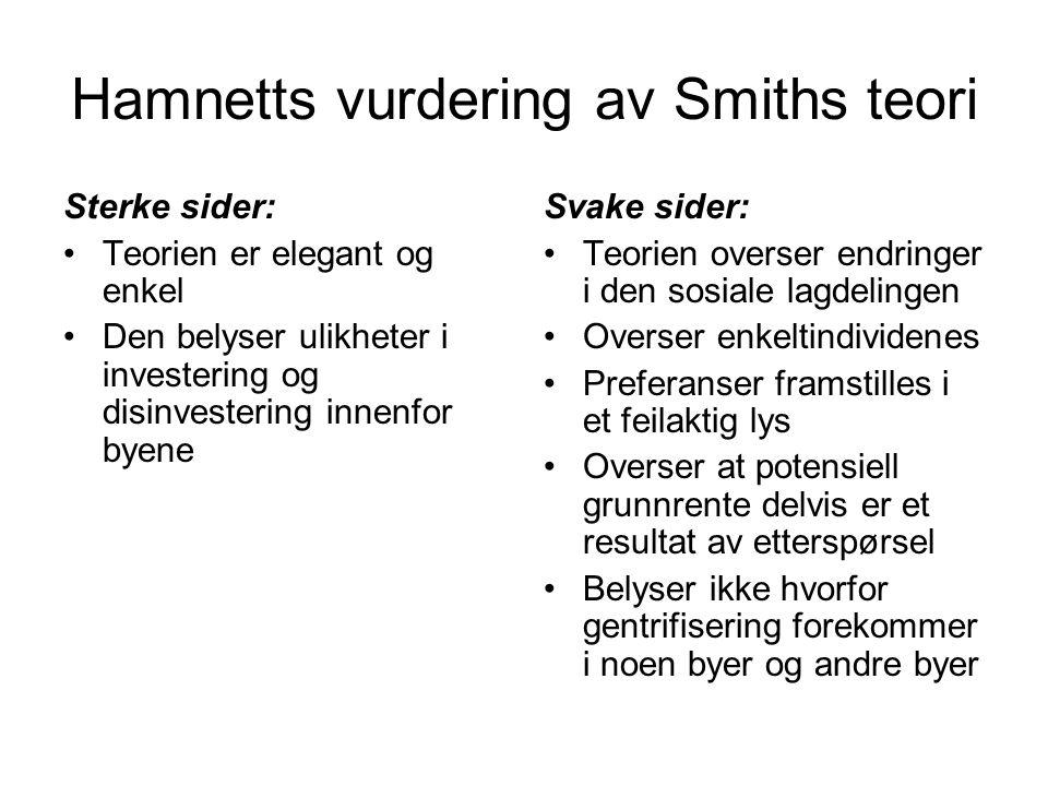 Hamnetts vurdering av Smiths teori Sterke sider: Teorien er elegant og enkel Den belyser ulikheter i investering og disinvestering innenfor byene Svak