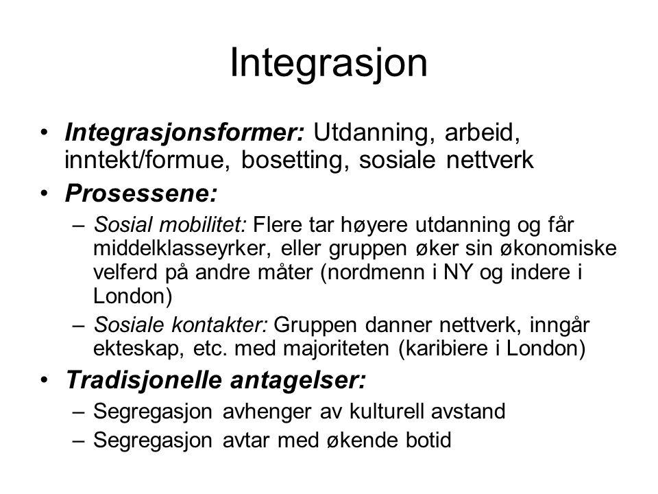 Integrasjon Integrasjonsformer: Utdanning, arbeid, inntekt/formue, bosetting, sosiale nettverk Prosessene: –Sosial mobilitet: Flere tar høyere utdanni