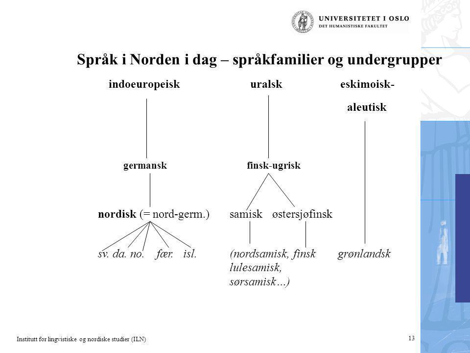 Institutt for lingvistiske og nordiske studier (ILN) 13 Språk i Norden i dag – språkfamilier og undergrupper indoeuropeiskuralskeskimoisk- aleutisk ge