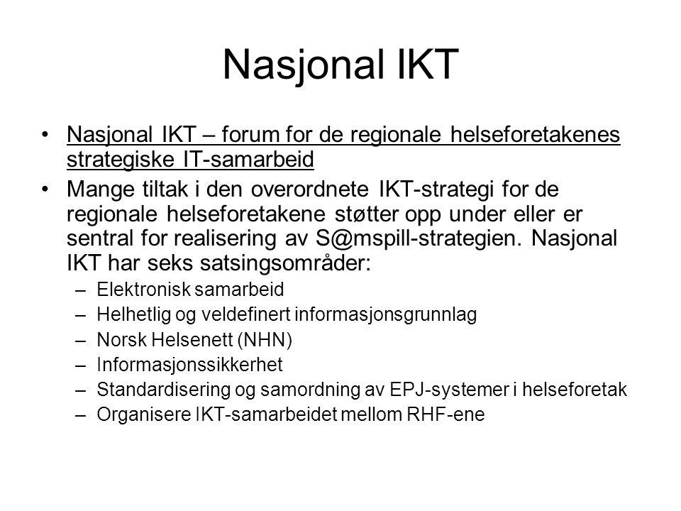 Nasjonal IKT Nasjonal IKT – forum for de regionale helseforetakenes strategiske IT-samarbeid Mange tiltak i den overordnete IKT-strategi for de regionale helseforetakene støtter opp under eller er sentral for realisering av S@mspill-strategien.