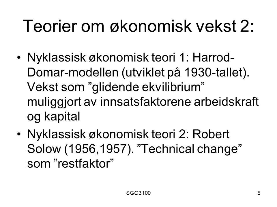 SGO31006 Teorier om økonomisk vekst 3: Evolusjonær økonomisk teori: Teknologi som konkurransefortrinn.