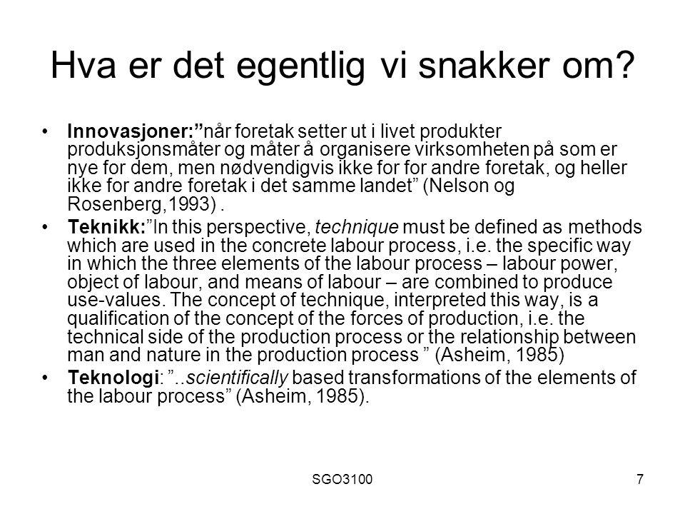SGO31008 Den lineære innovasjonsmodellen Source: Andersson og Karlsson, 2002