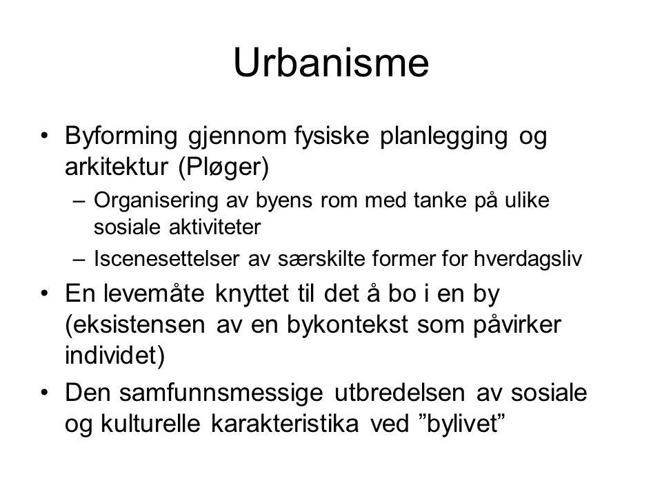 Urbanisme Byforming gjennom fysiske planlegging og arkitektur (Pløger) –Organisering av byens rom med tanke på ulike sosiale aktiviteter –Iscenesettel