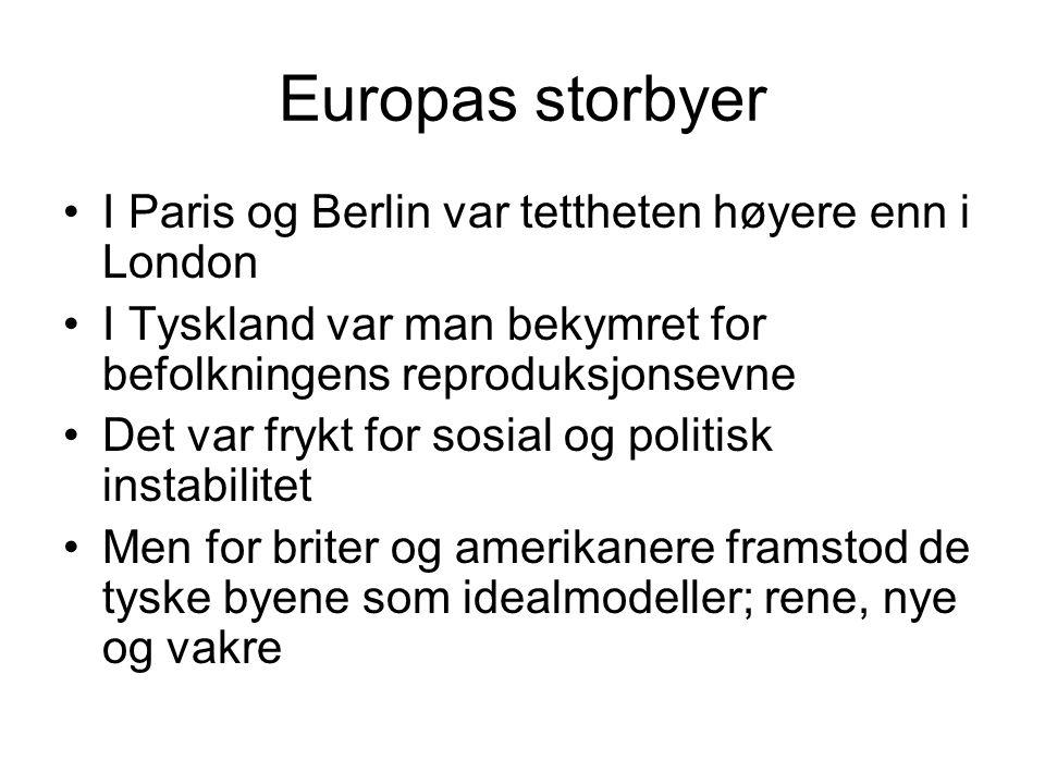 Europas storbyer I Paris og Berlin var tettheten høyere enn i London I Tyskland var man bekymret for befolkningens reproduksjonsevne Det var frykt for sosial og politisk instabilitet Men for briter og amerikanere framstod de tyske byene som idealmodeller; rene, nye og vakre